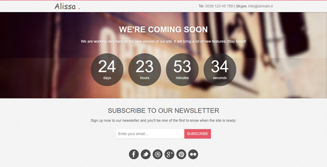 Alissa Coming Soon HTML Bootstrap Templates
