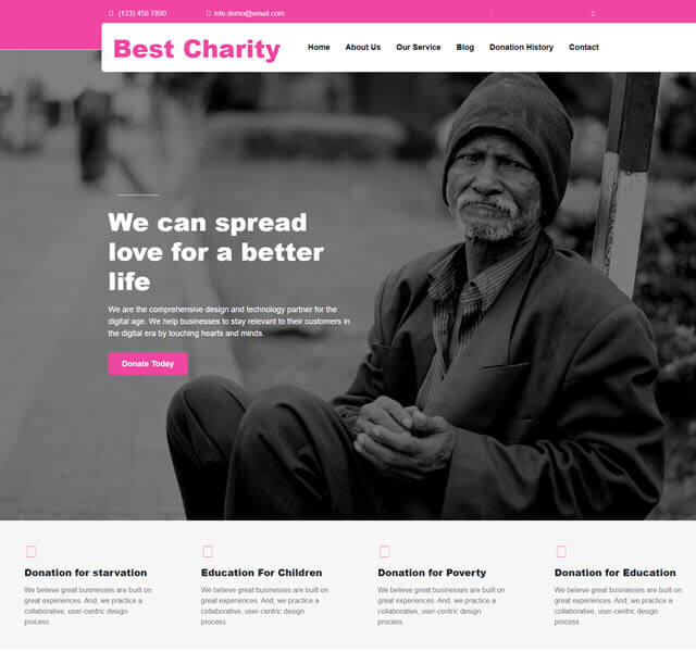 Best charity free fundraising theme for WordPress