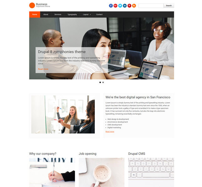 Business responsive free Drupal template