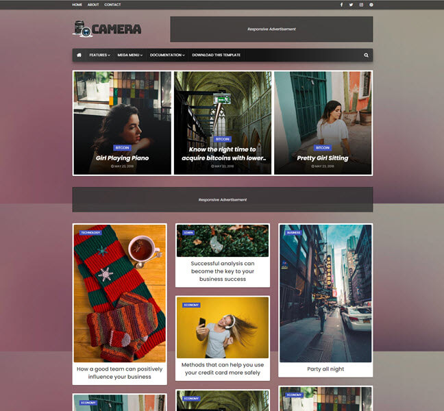 Camera Free Personal Blog Blogger Template