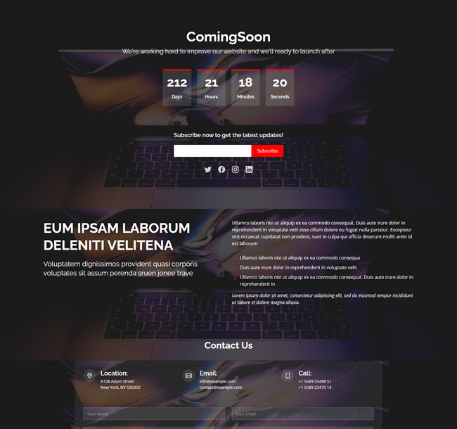 Coming Soon HTML Bootstrap Templates