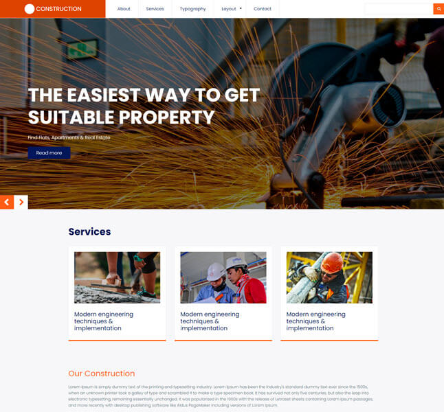 Construction free druapl template for construction website