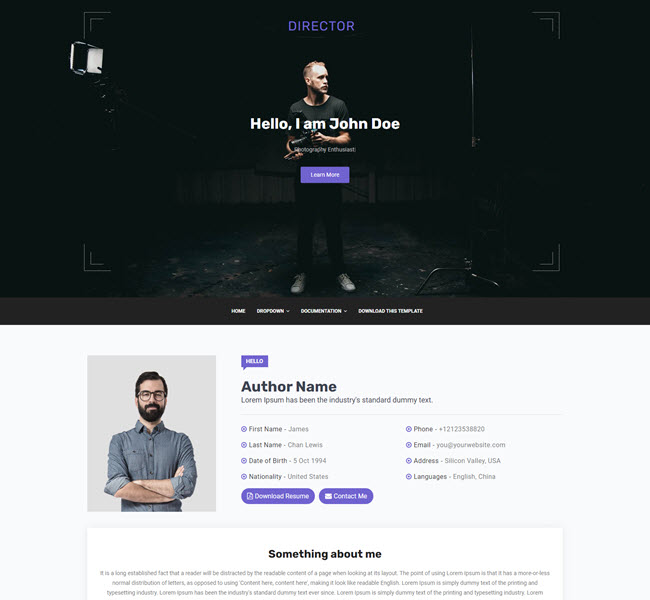 Director Personal Blog Blogger Template