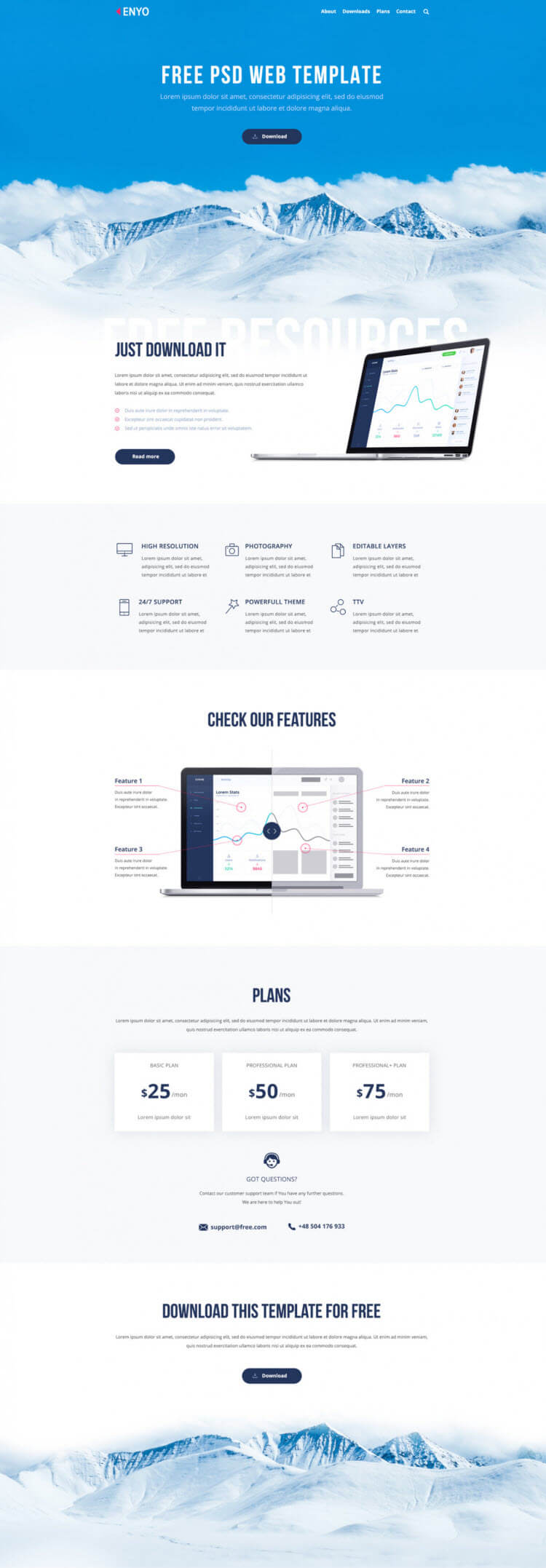 Enyo - Free PSD Website Template