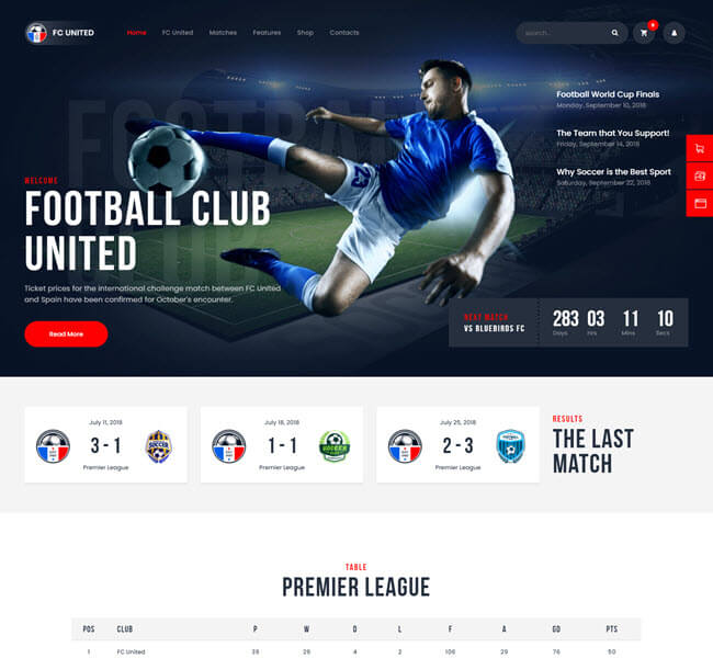 Fc united responsive WP theme for sports and football