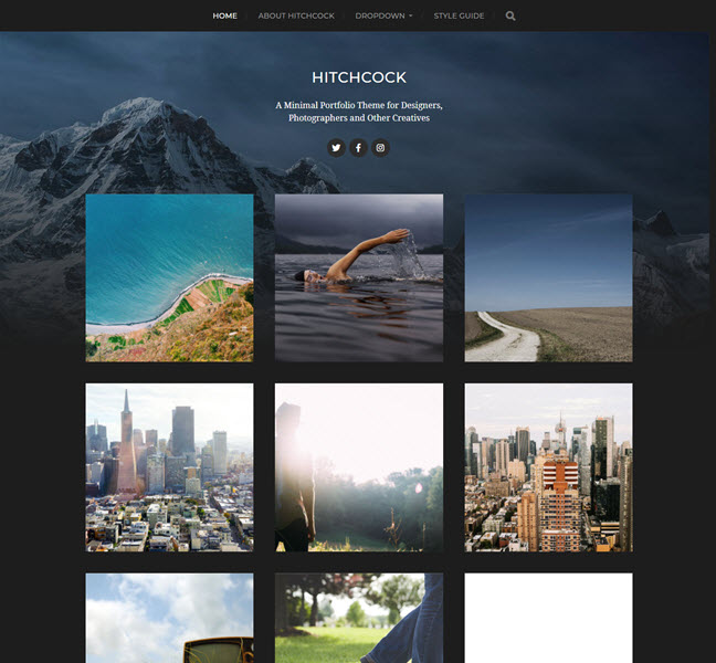 Hitchcock awesome photography WP theme