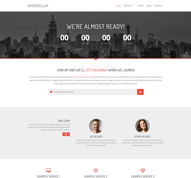 Intersteller Free Coming Soon Bootstrap Templates