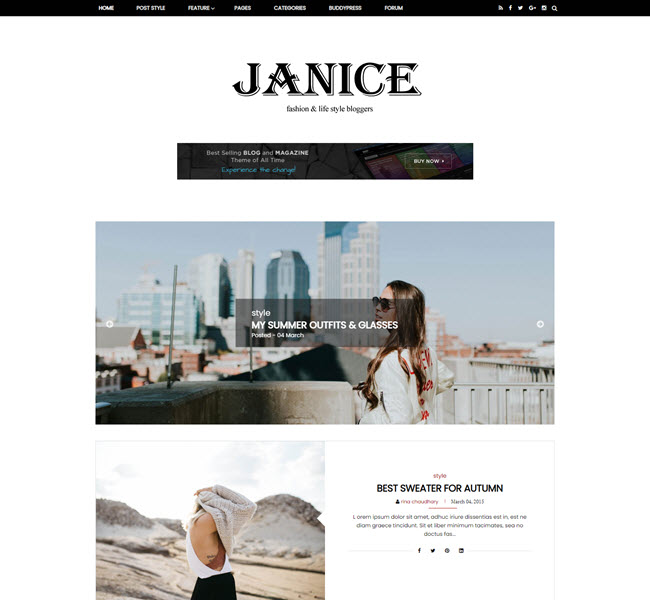 Janice Free Personal Blog Blogger Template