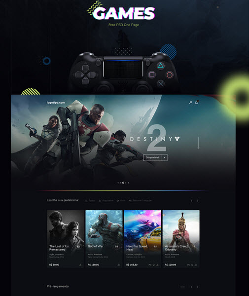 free gaming psd website template and landing page