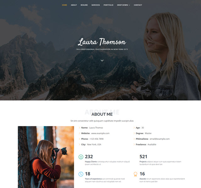 Laura Bootstrap Personal Web Template