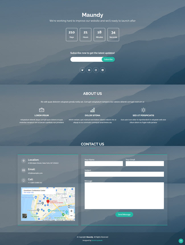 maunday free bootstrap website template for under construction project