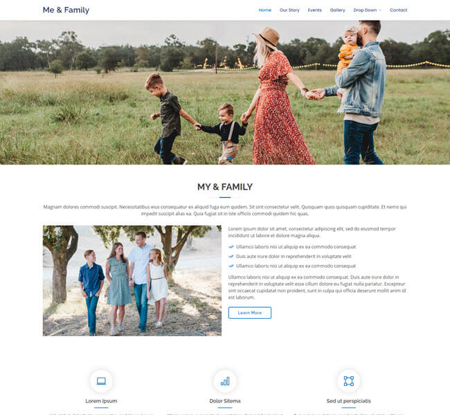 Mefamily Free Bootstrap Website Templates