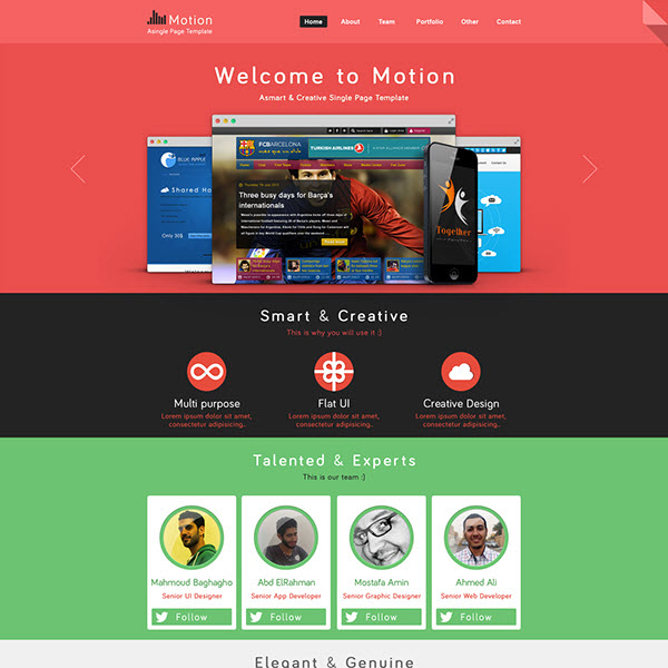 motion awesome free psd website template