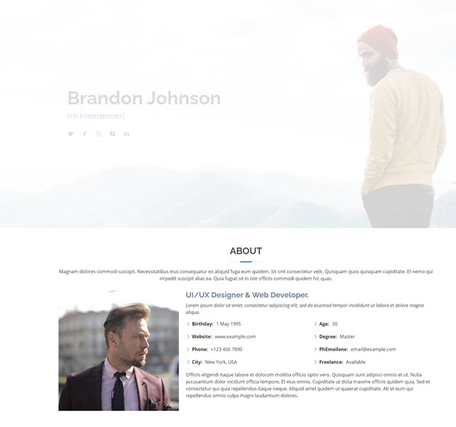 Myresume Free Bootstrap Personal Website Templates