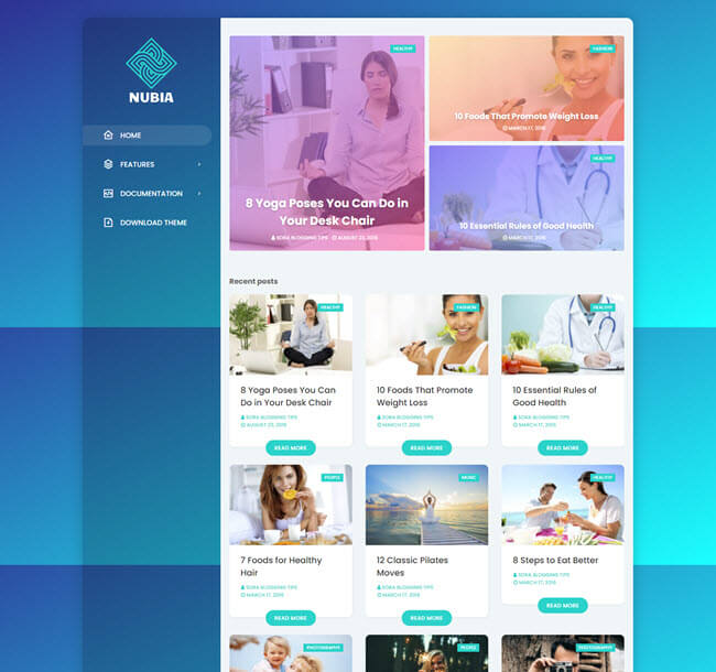 Nubia Free Personal Blog Blogger Template