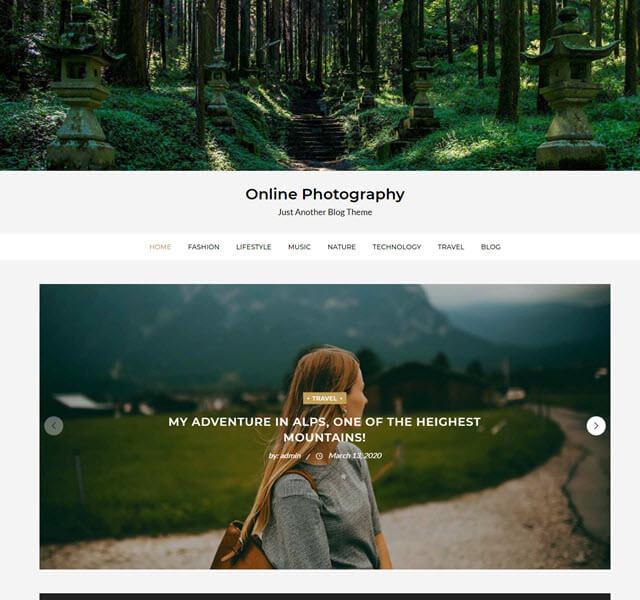 Online Photography a nice free WordPress theme
