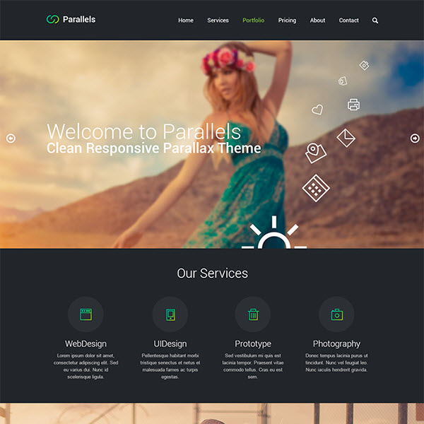 parallels single page psd theme