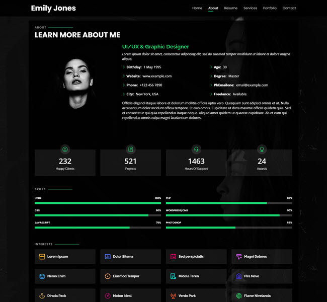 Personal Free Bootstrap Website theme