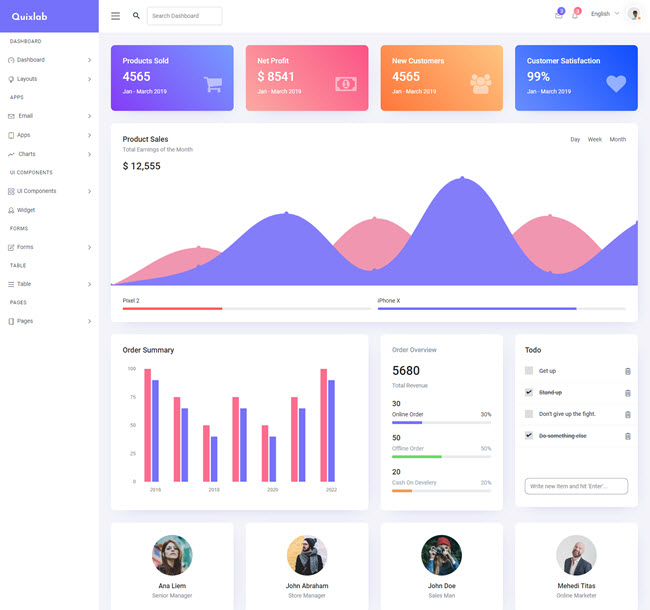 Quixlab dashboard free Bootstrap admin panel website template