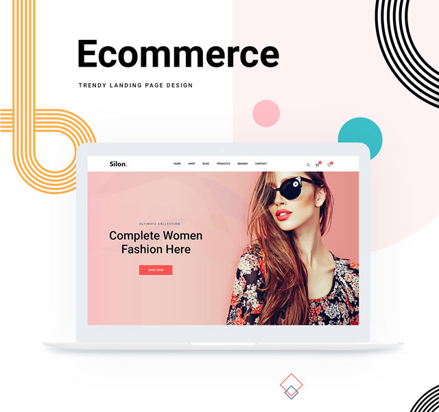 single page ecommerce psd website template