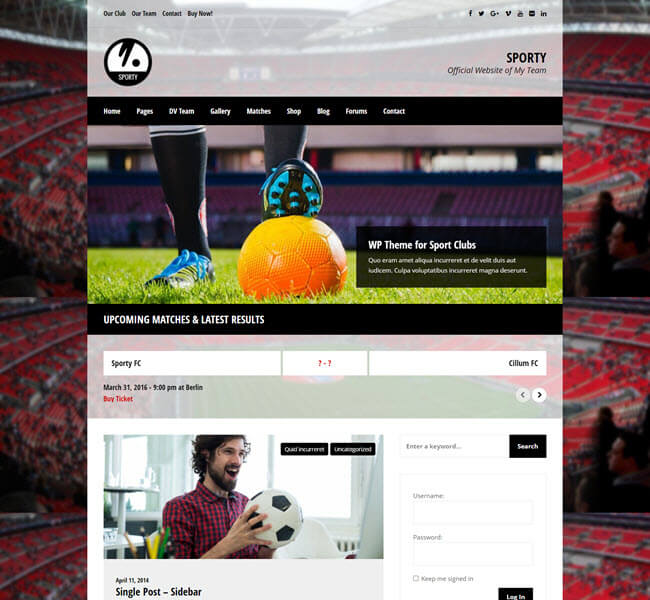 Sport-responsive football and soccer WP theme