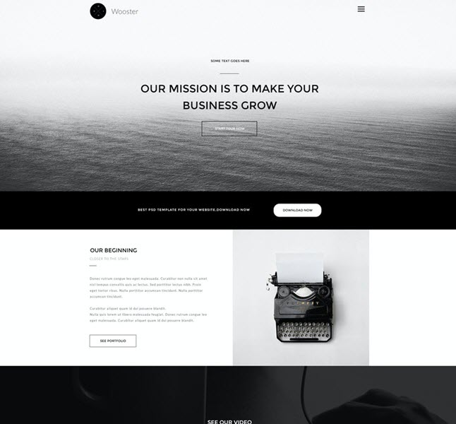 wooster single page psd template