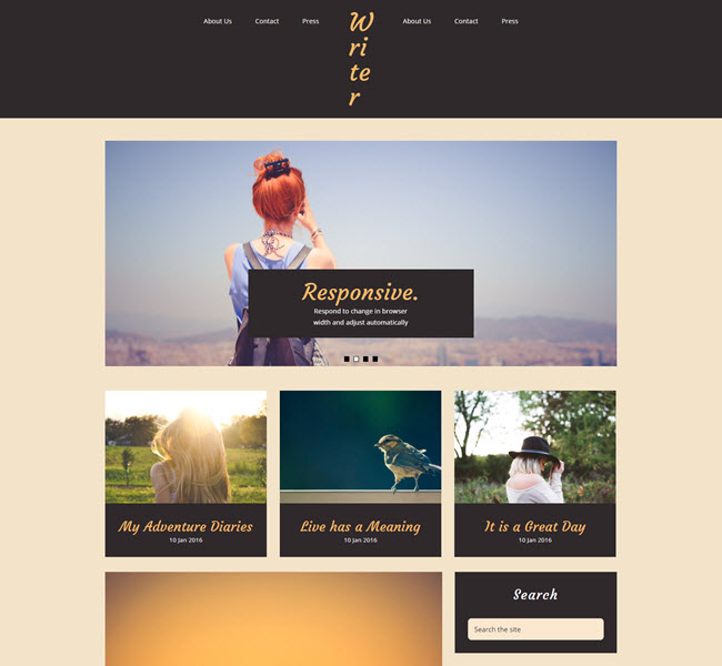 Writer Free Personal Blogger Template for writers
