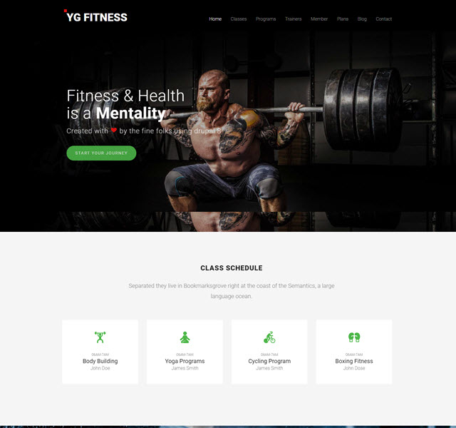 YG fitness free fitness and health Drupal 8  template